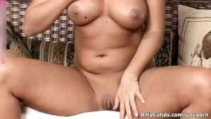 Horny blonde babe going crazy fingering hard her wet pussy