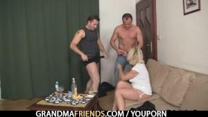 Two guys bangs her hard
