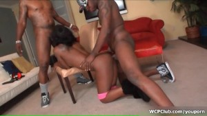 Horny ebony going crazy getting her wet pussy and greedy ass fucked by two big black cocks