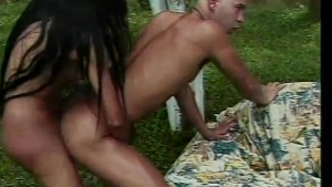 Gorgeous tranny fucking in the woods - Rain Productions