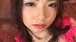 Hatsumi Kudo in skull stockings rides a horny mouth leaving it covered in juice