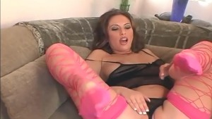 Brunette masturbating in fishnets and panties
