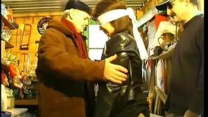 Blindfolded fuck in a workshop