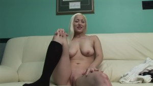 Hot blonde shows it all on the couch - DreamGirls