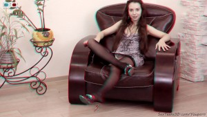 Teen girl posing & spreading her legs on a sofa - 3D backstage