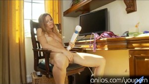 Hot Mom Carly Bell plays with her favorite toy
