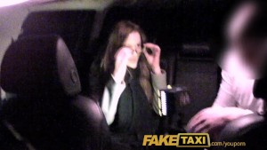FakeTaxi Cutie with glasses fucks for rent money
