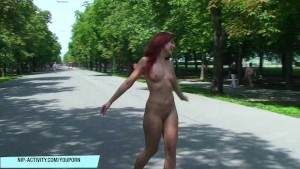 Hot redhead kety pearl naked in public