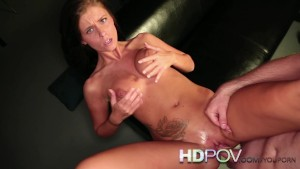 HD POV Stunning Brunette Rides your Cock from behind Cums on Tits and face