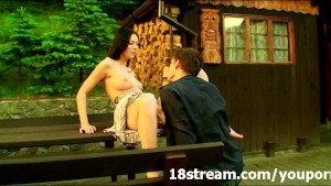 Wild outdoor cabin sex