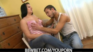 Hot fatty is picked up by an young guy