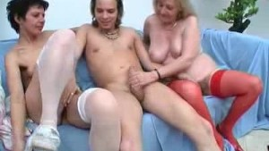 Two Matures Cock Sucks A Lucky Young Stud As Well