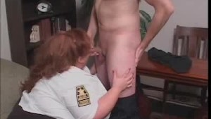 Cock Sucking BBW Security Guard