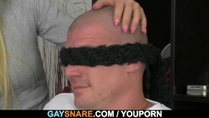 Bald hunk gets snared and doggystyled