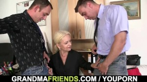 Two fellows fuck granny at work