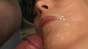 Blonde amateur girlfriend home gangbang with facials