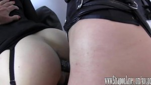 Femdom Strapon Jane fucks crossdressers tight virgin ass until she cums