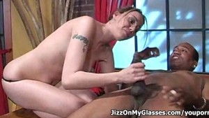 Lovely dick sucker Delilah Strong blows big black cock for a Jizz on her Glasses