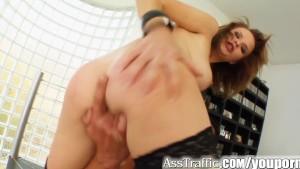 Ass Traffic Cute redhead wears cum on face after hard ass fuck