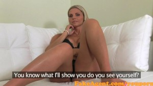 FakeAgent Stunning blonde gets spunk over her big tits in Casting interview