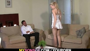 Young blonde cheats with her BF s dad