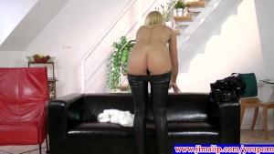 Blonde euro teen rubbing her clit
