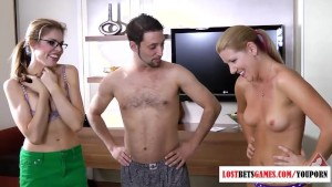 2 girls and one dude play a strip word game