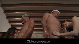 Horny oldmen fuck in group two young sluts