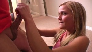 Handjob from cute amateur blonde girl 3