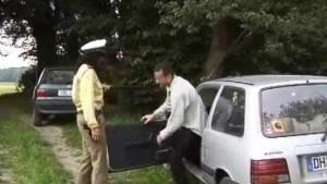 Traffic cop roadside doublefuck