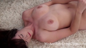 Kate Anne strips naked and relaxes on her rug
