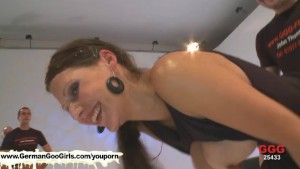 The Ultimate bukkake whore Viktoria is seriously addicted to cum swallowing