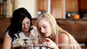 Young couple gets hands-on sex lessons from hot mom
