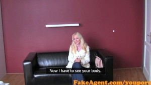 FakeAgent Naughty blonde amateur rides big cock in Casting inteview