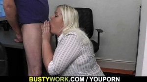 Blonde secretary blowjob and fuck at work