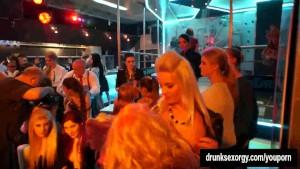 Lesbian party whores lick twats in public