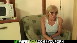 Fucking old mother inlaw on the table