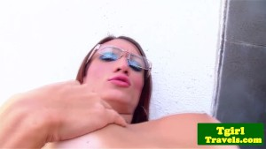 Tanlined tgirl Melissa Close with glasses striptease