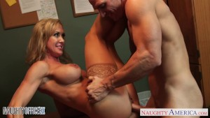 Stockinged office babe Brandi Love gets nailed