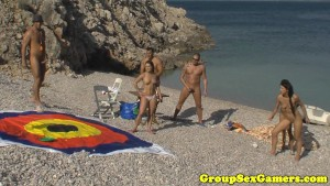 Beach game group pussyfucking