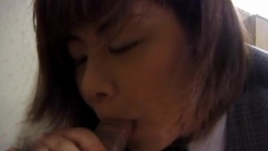 Eri Ueno in uniform shows pussy in white panty while sucking cock
