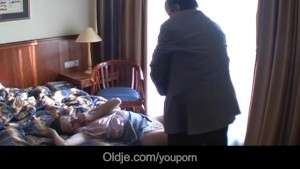 Moustache old guy fucks big jugged girl in hotel room