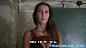PublicAgent Big tits brunette fucks for cash in public