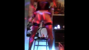 Crossdresser dancing and fucking session with her favorite Dildo.