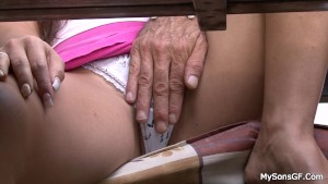 Nasty girl riding old granpa dick