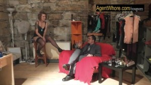 Redhead agent whore does sexy dance for a beginner guy