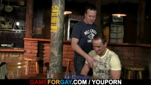 Hetero bartender is lured into gay cock riding