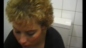 Horny milf giving a bathroom blowjob - Julia Reaves