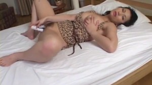Chinami Sakai pleases herself with a big toy