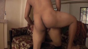 Asian babe with a shaved pussy getting fucked deeply